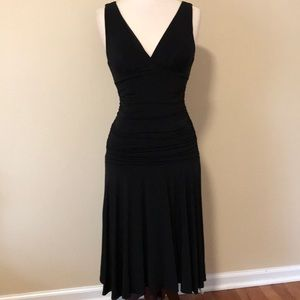 BCBGMaxAzria Ruched Faux Wrap Midi Dress